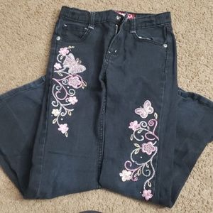 Girls Bongo embroidered butterfly jeans